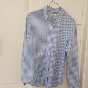Vineyard Vines gingham  blue/white shirt size 6